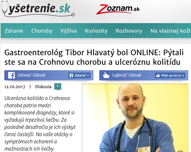 Gastroenterológ Tibor Hlavatý bol ONLINE: Pýtali ste sa na Crohnovu chorobu a ulceróznu kolitídu